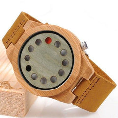 WoodWatchBox.com ALL WOOD WATCHES A03greendial / China Bobo Bird CD8 Mens Wood Wristwatches Bamboo Dial with 12 Holes