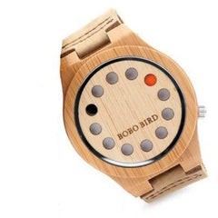 WoodWatchBox.com ALL WOOD WATCHES A04 with logo / China Bobo Bird CD8 Mens Wood Wristwatches Bamboo Dial with 12 Holes