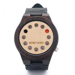 WoodWatchBox.com ALL WOOD WATCHES B17black with logo Bobo Bird CD8 Mens Wood Wristwatches Bamboo Dial with 12 Holes