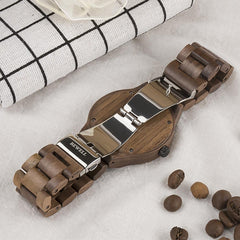WoodWatchBox.com ALL WOOD WATCHES BEWELL ZS-W15 Mens Wood Watches Top Brand Luxury Quartz Wood Wristwatch