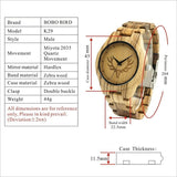 WoodWatchBox.com ALL WOOD WATCHES Bobo Bird LK29 Mens Fashion Zebra Wooden Watches Great Gift For Him