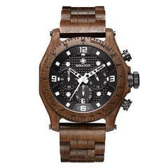 WoodWatchBox.com ALL WOOD WATCHES Brown / China Sihaixin A19G Waterproof Natural Handmade Men's Walnut Wooden Watch