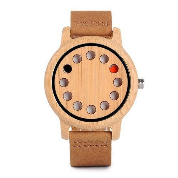 WoodWatchBox.com ALL WOOD WATCHES D06with logo / China Bobo Bird CD8 Mens Wood Wristwatches Bamboo Dial with 12 Holes