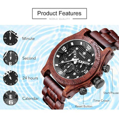 Sihaixin A19G Waterproof Natural Handmade Men's Walnut Wooden Watch
