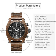 WoodWatchBox.com ALL WOOD WATCHES Sihaixin A19G Waterproof Natural Handmade Men's Walnut Wooden Watch