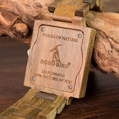WoodWatchBox.com ALL WOOD WATCHES W-R23-1 Bobo Bird R23 Rectangular All Wooden Wristwatches for Men and Women