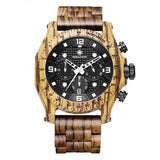 WoodWatchBox.com ALL WOOD WATCHES zebra / China Sihaixin A19G Waterproof Natural Handmade Men's Walnut Wooden Watch
