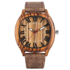 WoodWatchBox.com LEATHER BAND WOOD WATCHES 1 Yisuya W28 Unique Handmade Fashion Mens Wood Watch with Leather Strap