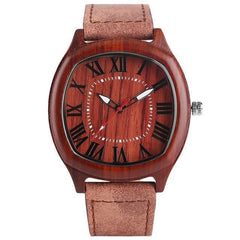 WoodWatchBox.com LEATHER BAND WOOD WATCHES 2 Yisuya W28 Unique Handmade Fashion Mens Wood Watch with Leather Strap