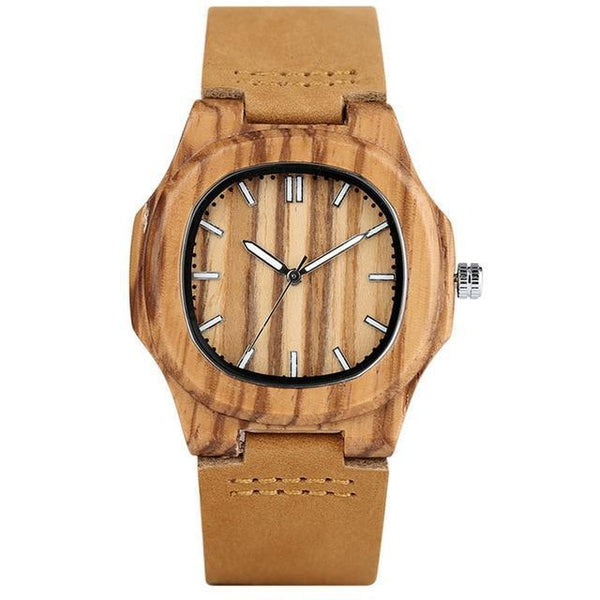 WoodWatchBox.com LEATHER BAND WOOD WATCHES 2 YISUYA W283 Bamboo Wooden Watch For Men Unique Design Genuine Leather