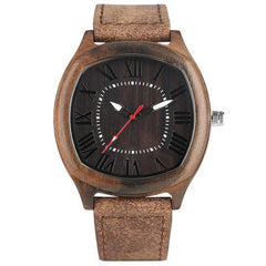 WoodWatchBox.com LEATHER BAND WOOD WATCHES 3 Yisuya W28 Unique Handmade Fashion Mens Wood Watch with Leather Strap