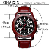 Sihaixin A18G Mens Wood Watch Leather Strap Sport Quartz Wristwatches