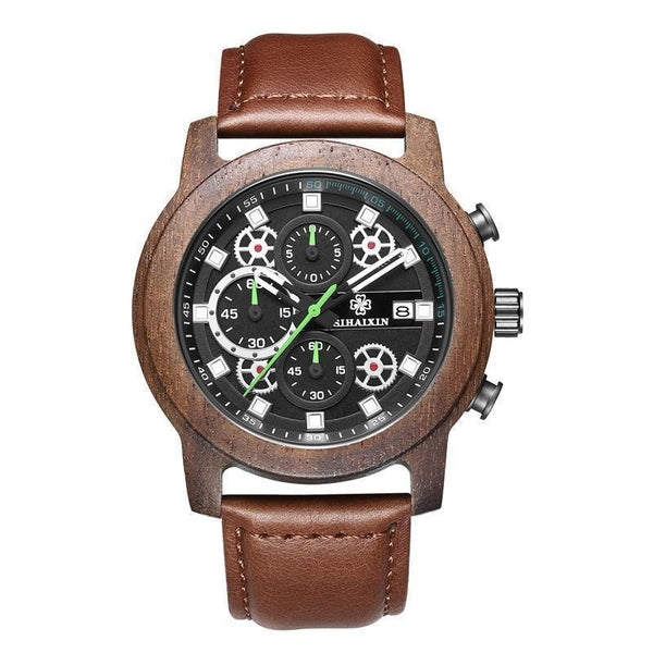 WoodWatchBox.com LEATHER BAND WOOD WATCHES Sihaixin A18G Mens Wood Watch Leather Strap Sport Quartz Wristwatches