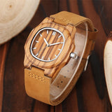WoodWatchBox.com LEATHER BAND WOOD WATCHES YISUYA W283 Bamboo Wooden Watch For Men Unique Design Genuine Leather