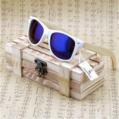 WoodWatchBox.com WOOD SUNGLASSES Blue / China Bobo bird G07 Rectangular Oversized Bamboo Wood Polarized Sunglasses