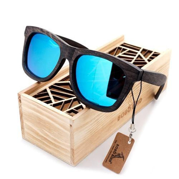 WoodWatchBox.com WOOD SUNGLASSES Blue Lens Bobo Bird AG5 Mens Retro Square Wooden Bamboo Polaroid Sunglasses