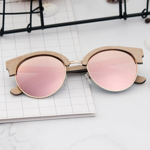 cac7fc591ab1 ... Bobo Bird G14 Womens Polarized Wood Sunglasses Retro Pink. Double click  for enlarge