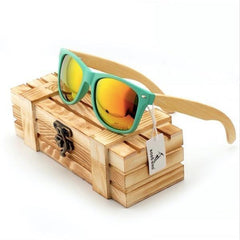 WoodWatchBox.com WOOD SUNGLASSES Gold Bobo Bird G01 Bamboo Wooden Sunglasses for Men and Women with Wooden Box