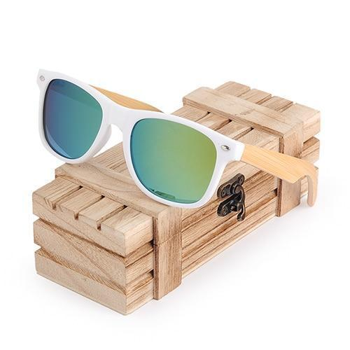 WoodWatchBox.com WOOD SUNGLASSES Gold Bobo bird G07 Rectangular Oversized Bamboo Wood Polarized Sunglasses