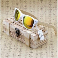 WoodWatchBox.com WOOD SUNGLASSES Gold / China Bobo bird G07 Rectangular Oversized Bamboo Wood Polarized Sunglasses