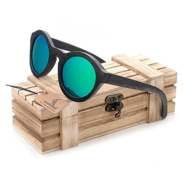 WoodWatchBox.com WOOD SUNGLASSES Green Lens / China Bobo Bird G08 Polarized Cat Eye Bamboo Wooden Sunglasses for Women