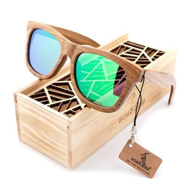 WoodWatchBox.com WOOD SUNGLASSES Green / United States Bobo Bird G07 Fashion Polarized Square Wood Bamboo Sunglasses for Men