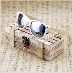 WoodWatchBox.com WOOD SUNGLASSES Silver / China Bobo bird G07 Rectangular Oversized Bamboo Wood Polarized Sunglasses