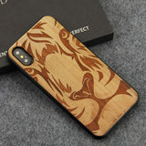 WoodWatchBox.com WOODEN iPHONE CASE Cherrywood Lion / for iPhone X YFWOOD Wooden iPhone Case For iPhone X XR XS Max Protective Back Cover