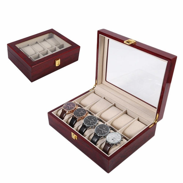 WoodWatchBox.com WOODEN WATCH BOX United States Amw Practical 10 Grids Wooden Watch Box Durable Home Watch Organizer