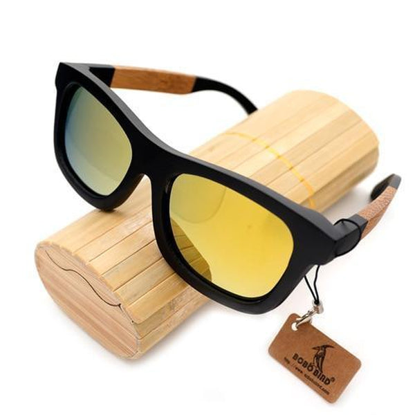 WoodWatchBox.com Yellow Bobo Bird BG21 Eco Friendly Bamboo Wooden Sunglasses For Men