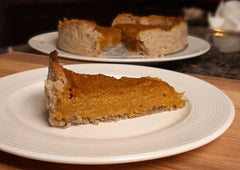 A slice of gluten-free and vegan pumpkin pie, before chilling