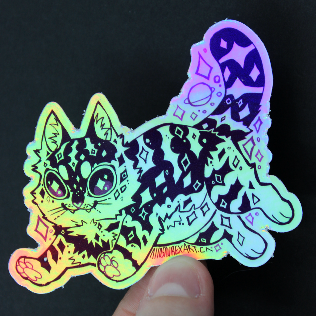 Space Kitty Holographic Sticker