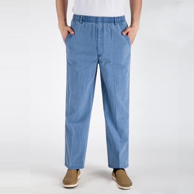 3170a7c51d PODOM Thin Linen Mens Pants Male Large Size Loose Casual Business Trousers  Men s Clothing Straight Solid