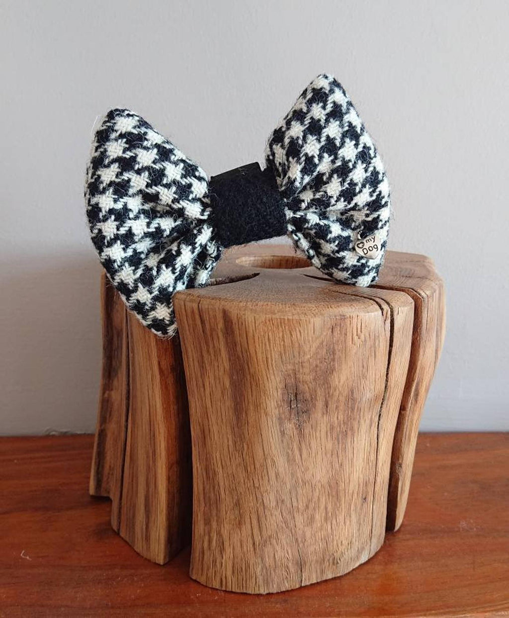 Luxury Black And White Houndstooth Harris Tweed Dog Bow Tie