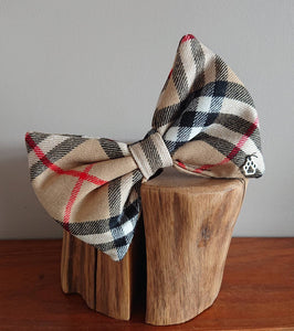 Thompson Camel Tartan XL Bigger Breeds Dog Bow Tie - Luxury Highland Pet Couture