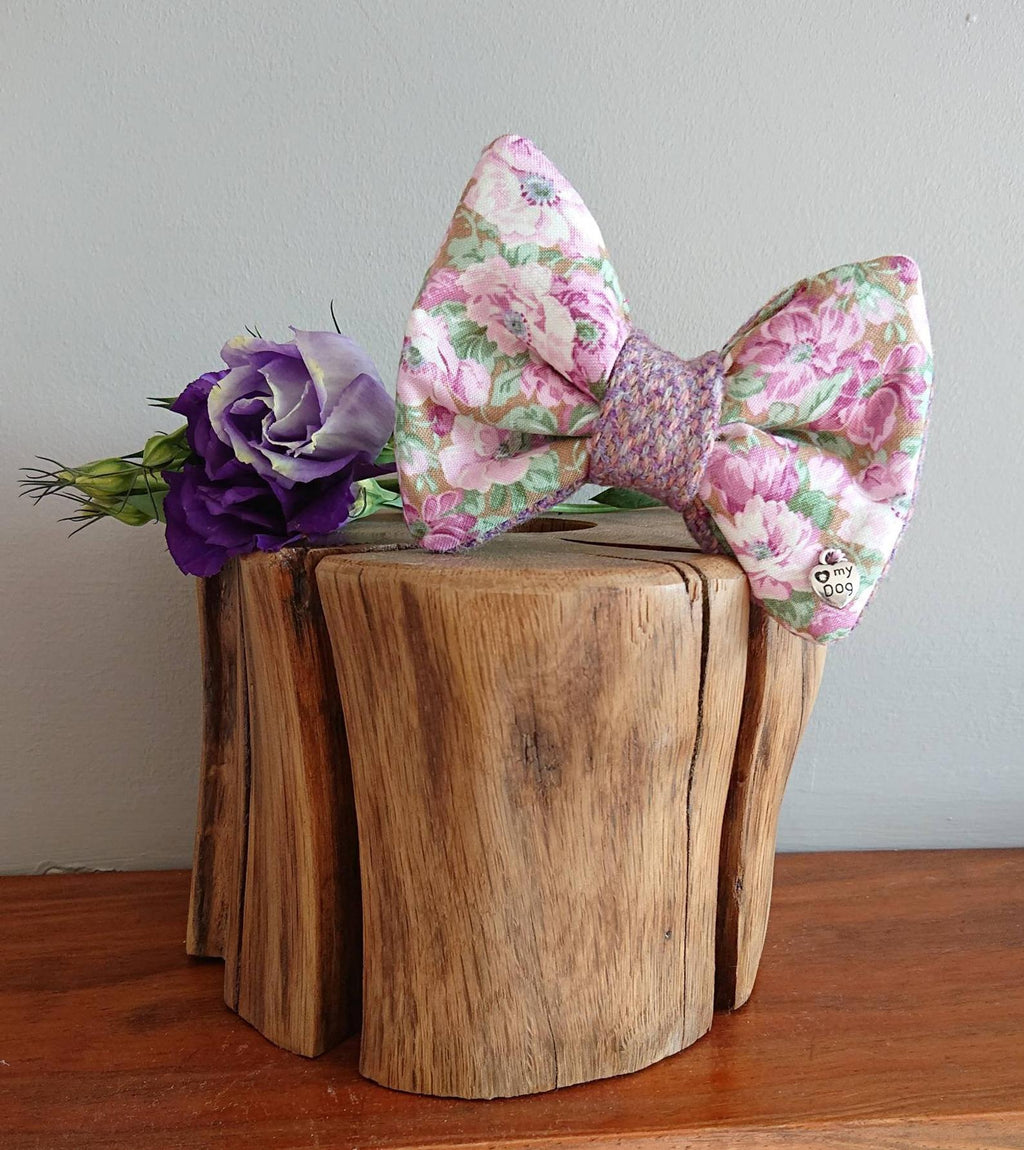 Delilah Lilac Floral Luxury Harris Tweed Dog Bow Tie - Hattie In Bloom Collection