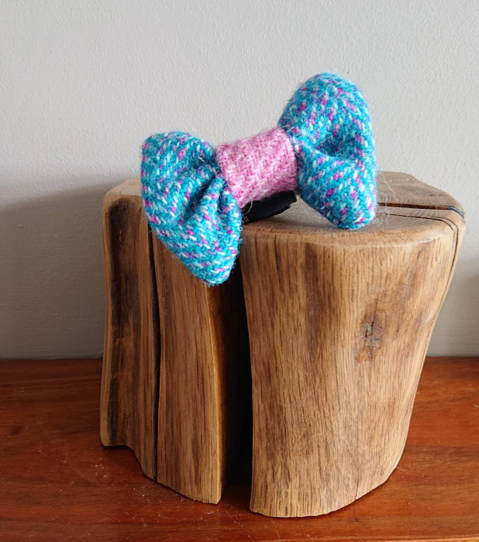 XS Luxury Blue Berry Harris Tweed Small Dog Bow Tie
