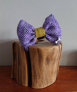 Luxury Herringbone Plum Harris Tweed Dog Bow Tie