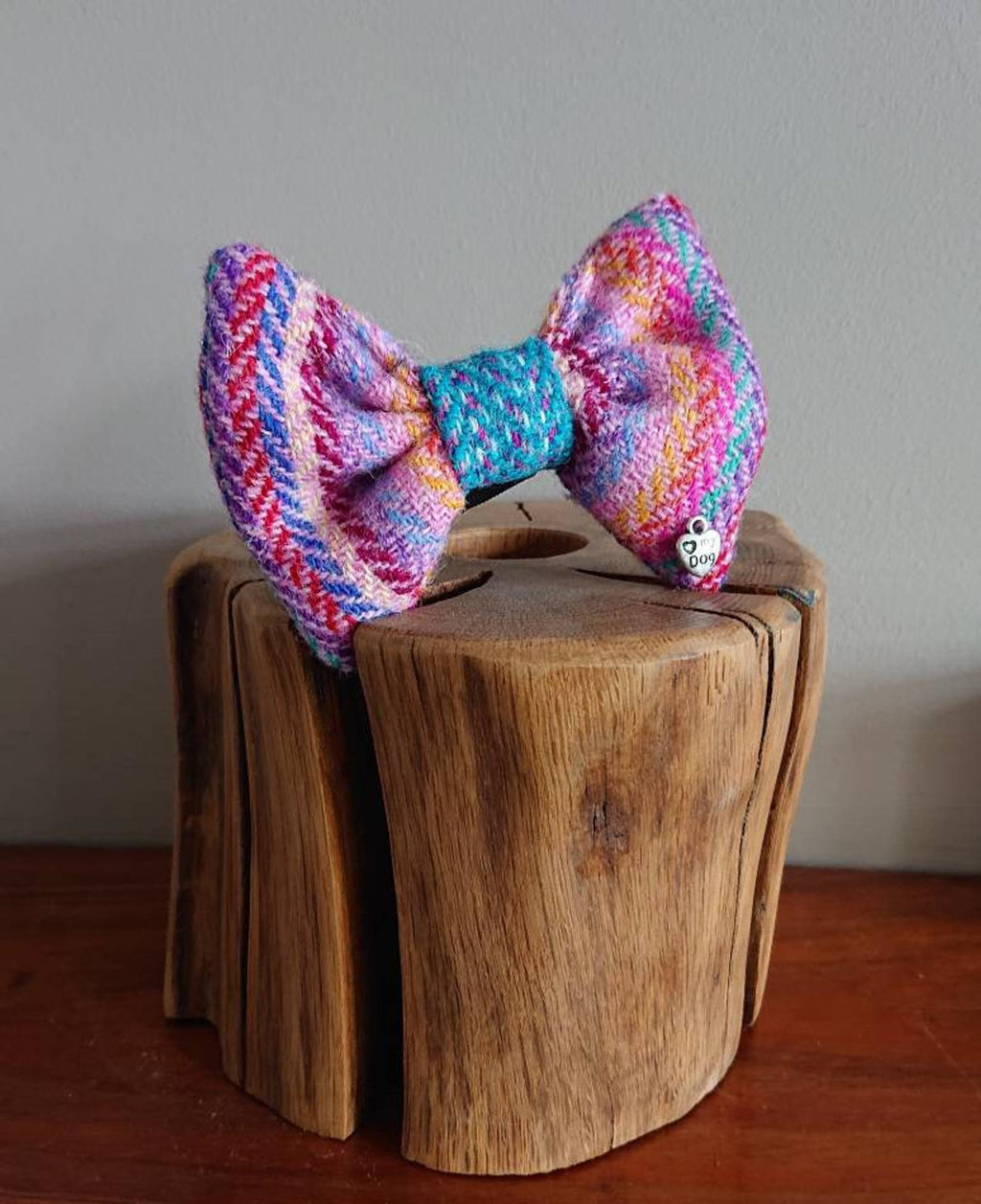 Luxury Rainbow Stripe Blue Harris Tweed Dog Bow Tie