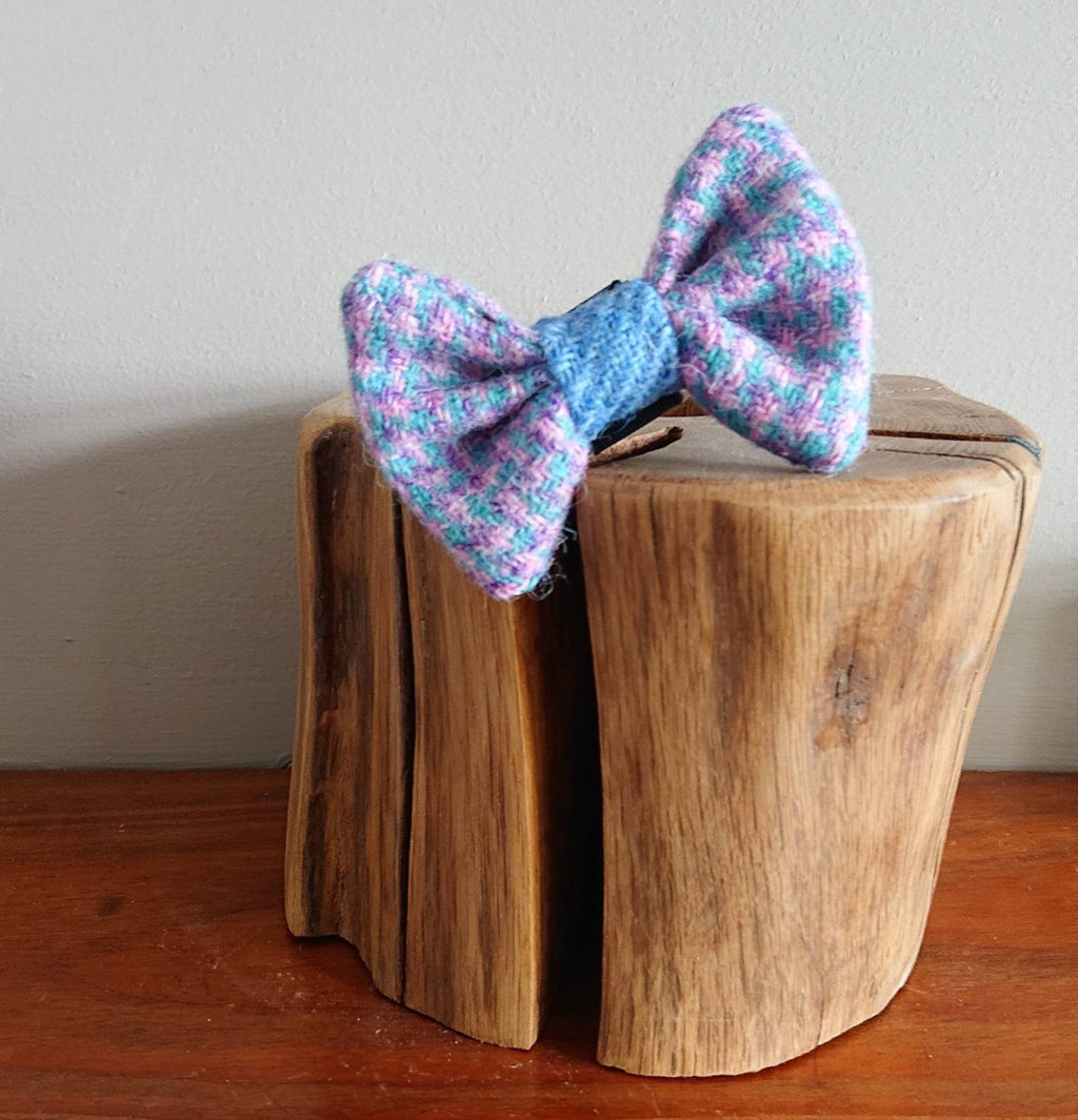 XS Luxury Lilac Blue Fleck Harris Tweed Dog Bow Tie