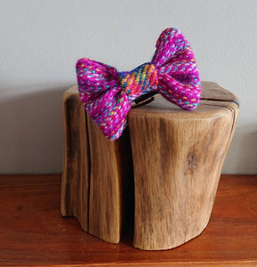 XS Luxury Rainbow Confetti Treat Pink Harris Tweed Dog Bow Tie