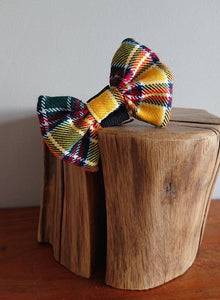 Jacobite Yellow Tartan XS Small Dog / Cat Bow Tie - Luxury Highland Wool Pet Couture