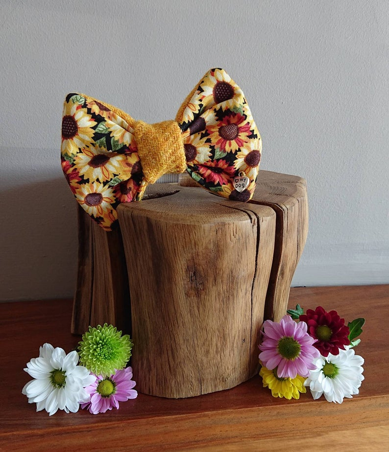 Luxury Harris Tweed Summer Floral Sunflower Dog Bow Tie - Hattie In Bloom Collection