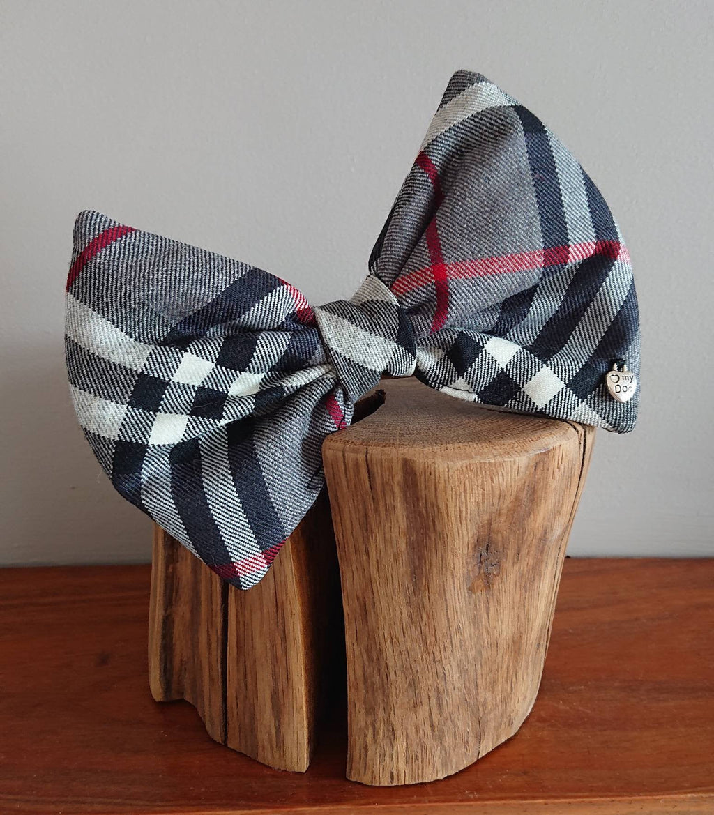 Thompson Grey Tartan XL Bigger Breeds Dog Bow Tie - Luxury Highland Pet Couture