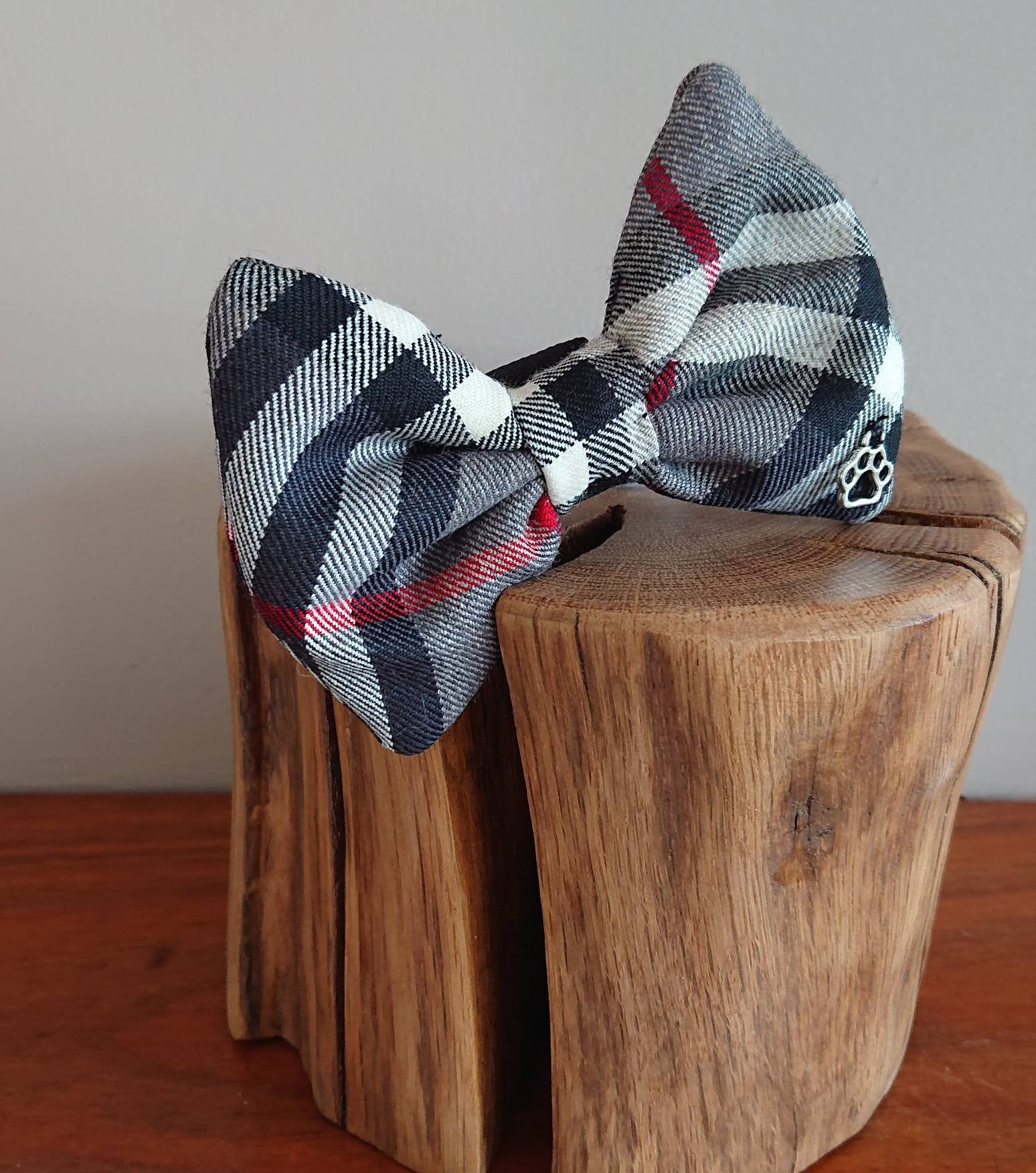 Thompson Grey Tartan Dog Bow Tie - Luxury Highland Wool Pet Couture