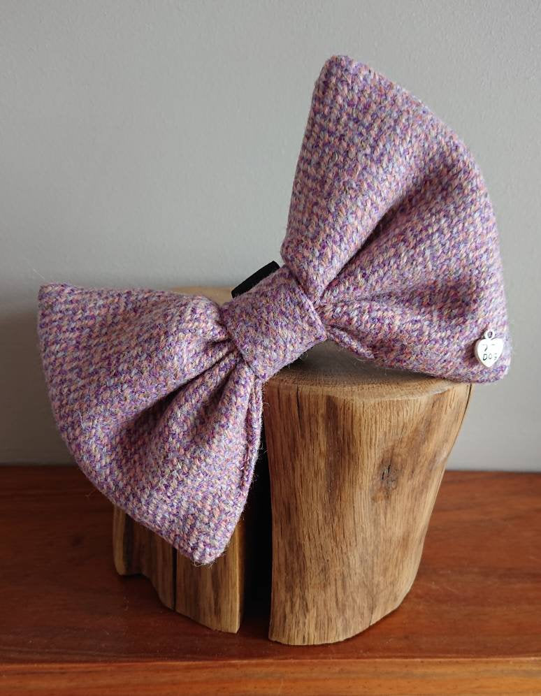 Luna Lilac Bigger Breeds Luxury Harris Tweed Dog Bow Tie - Large XL