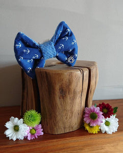Sailor Boy Anchor Blue Luxury Harris Tweed Dog Bow Tie - Hattie In Bloom