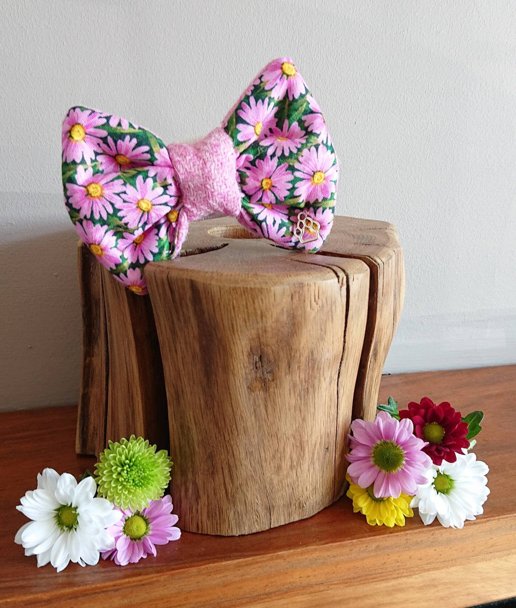 Daisy Pink Floral Luxury Harris Tweed Dog Bow Tie - Hattie In Bloom Collection