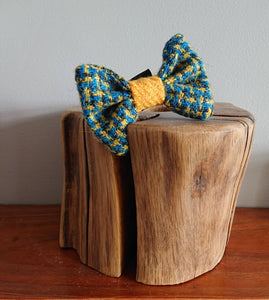 XS Luxury Criss Cross Blue Yellow Harris Tweed Dog Bow Tie