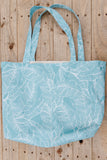 Banana Leaf Tote - Mellow Blue & White